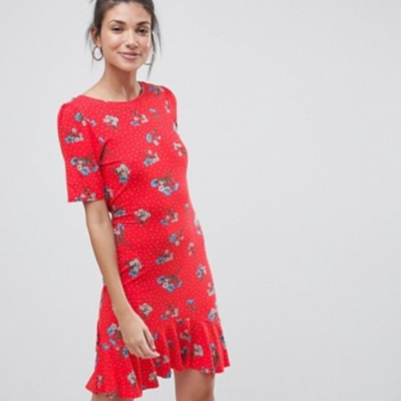 9c35f14e9e5cb ASOS Dresses | Tall Tea Dress With V Back And Frill Hem | Poshmark